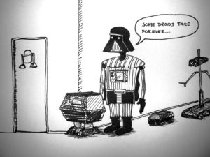 Vader in line for the loo