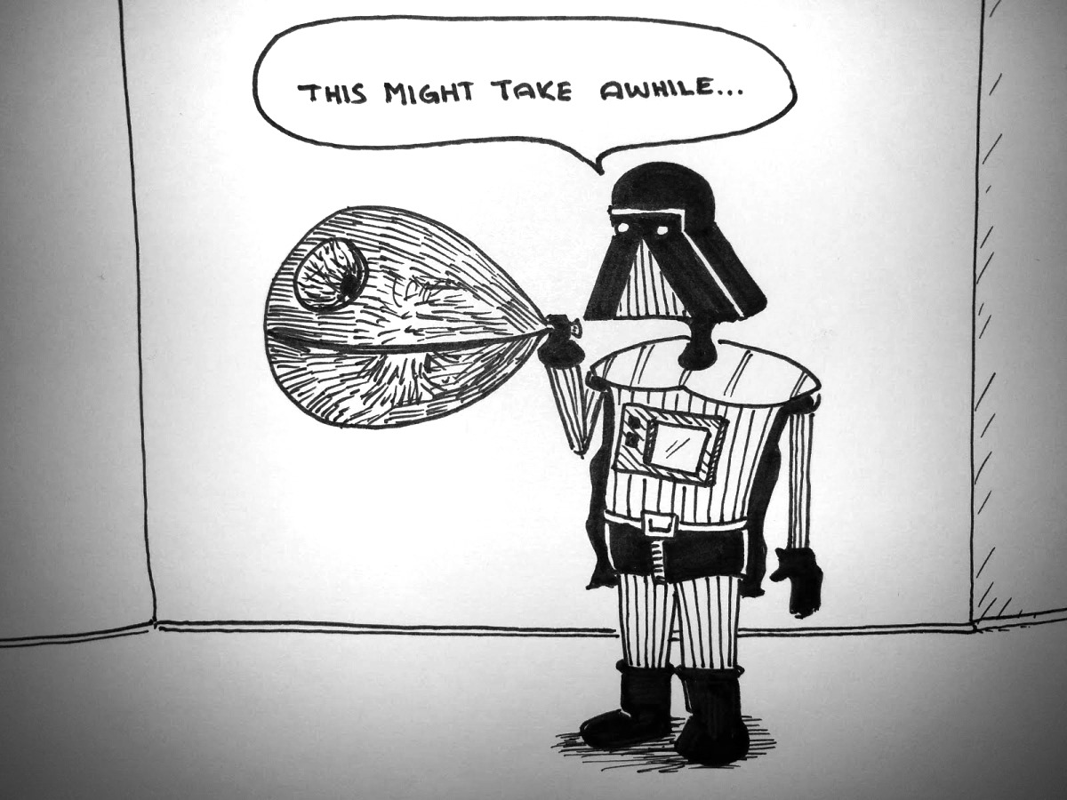 vader blows up a death star