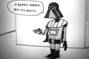 vader with a bowl of soup