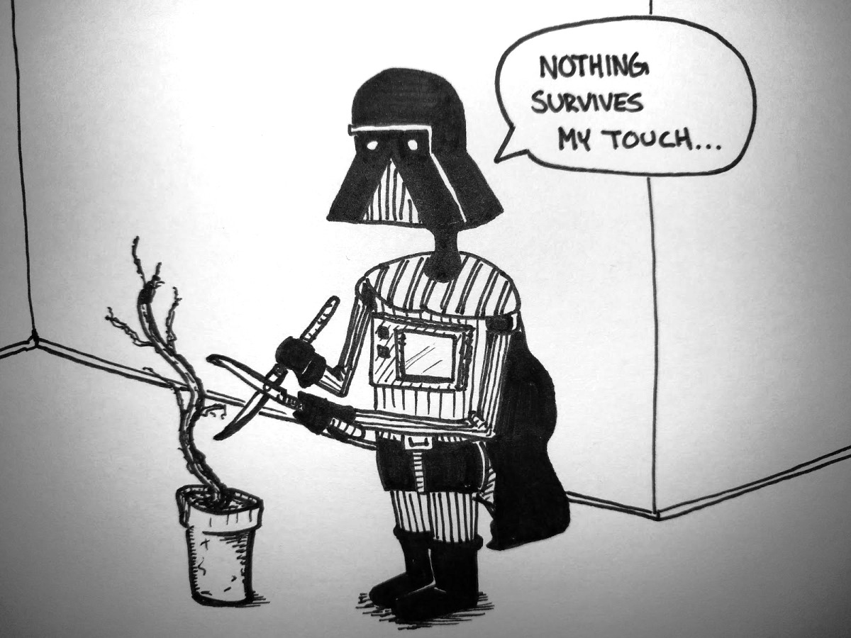 Vader tries gardening
