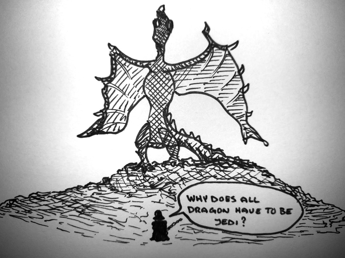 Please Be Sith Vader confronts a dragon