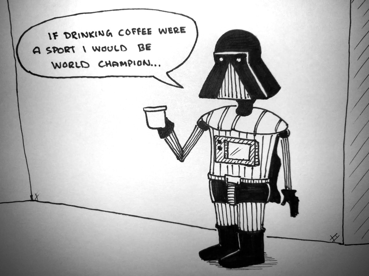 Darth and a cup of coffee